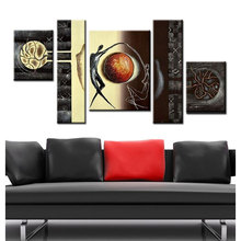 hand painted modular painting pictures black lover couple oil on canvas large size wall decor art sets 5 pieces gift