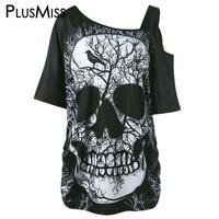 GIYI Plus Size 5XL Skew Collar Skull Print T Shirt Women Summer 2017 One Shoulder Loose
