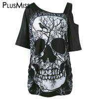 PlusMiss Plus Size 5XL Gothic Skull Stampa T-Shirt Donna 2017 Un spalla Allentato Punk Rock Top Tee Shirt Sexy Big Size T camicie