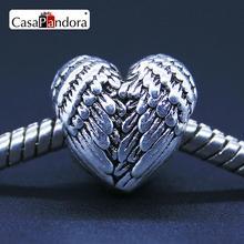 Фотография Fashion European 925 Silver Heart Angel Wings Fit Bracelet Charm DIY Bead Jewelry Making