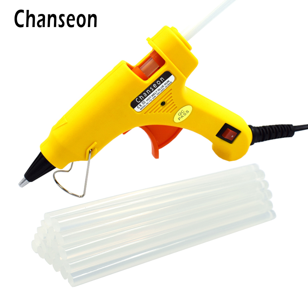 Chanseon 20W EU/US Hot Melt Glue Gun with 30 pcs 7mm*200mm Glue Stick Industrial Mini Guns Thermo Electric Heat Temperature Tool sheffilton вешалка sheffilton sht cr450 hnphcpn