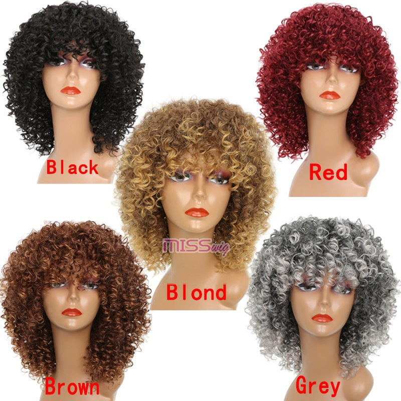 ALI shop ...  ... 32808427566 ... 5 ... MISS WIG Long Red Black Afro Wig Kinky Curly Wigs for Black Women Blonde Mixed Brown 250g Synthetic Wigs  ...