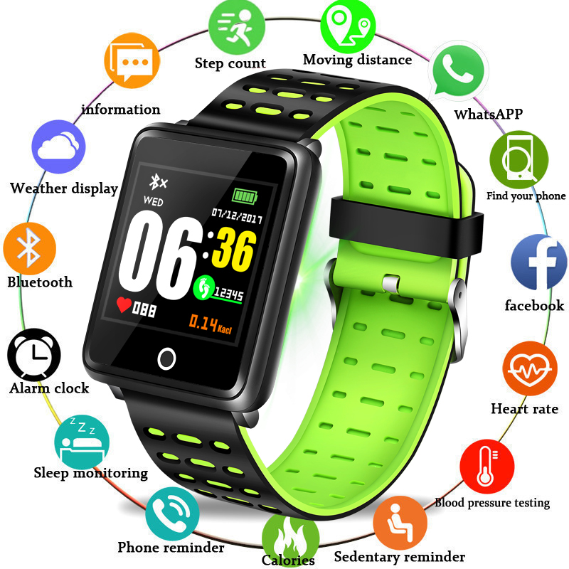 BANGWEI 2019 Fashion Sport Bracelet Fitness Watch Blood Pressure Heart Rate Detection Pedometer Waterproof Watch Smart Wristband