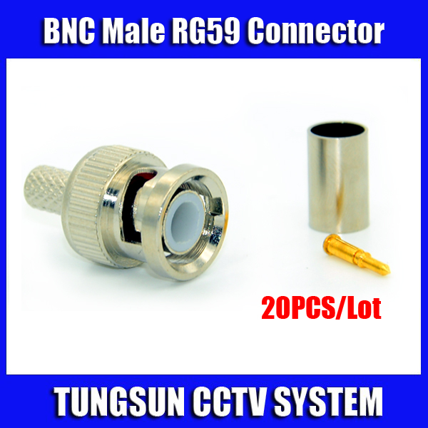 Freeshipping 20pcs/lot BNC Male Crimp plug for RG59 Coaxial Cable RG59 BNC Connector BNC male 3-piece crimp connector plugs RG59 20pcs bnc male to bnc male plug cables double straight crimp rg58 connector