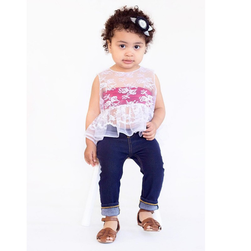 Hot Sale Newborn Baby T Shirt Kids Flower Lace Tops+Tube Tops Summer Beach Outfits Baby Girl Clothes