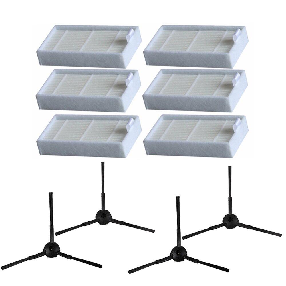 4pcs Side Brush + 6pcs HEPA Filter Kit For CHUWI Ilife V5s V5 X5 For Ilife V3s V3s Pro V3l V5s Pro V50 Robot Vacuum Cleaner