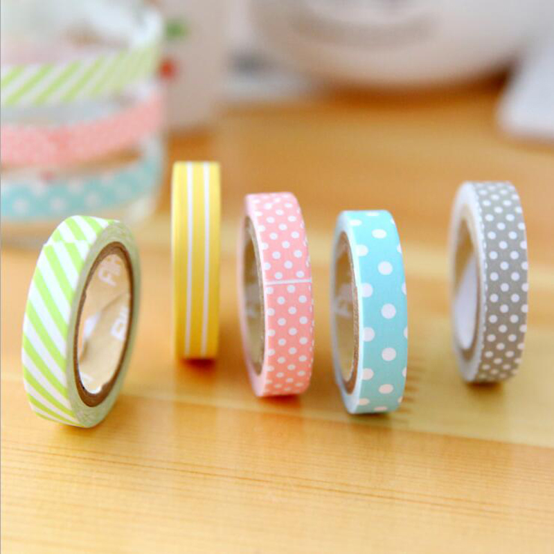 5 Pcs/Pack Candy Color Rainbow Striped Dots Washi Tape Target DIY Decorative Tape Color Paper Adhesive Masking Tapes Cheap