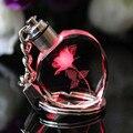 Pêssego Coração de Cristal Chaveiro Presente da lembrança Chaveiro Casais Presentes Do Partido Colorido Led Piscando Luzes Chaveiros Llavero
