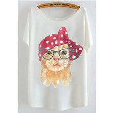 2017 newest batwing sleeve t shirt cotton t-shirt Women big size t shirt Cat/Rabbit/Perfume bottles(China)
