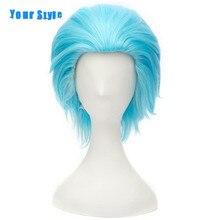 Ваш Стиль Короткие Прически Парик Косплей Синий Коричневый Цвет Синтетический Поддельные Волос для Мужчин Высокая Температура Волокна