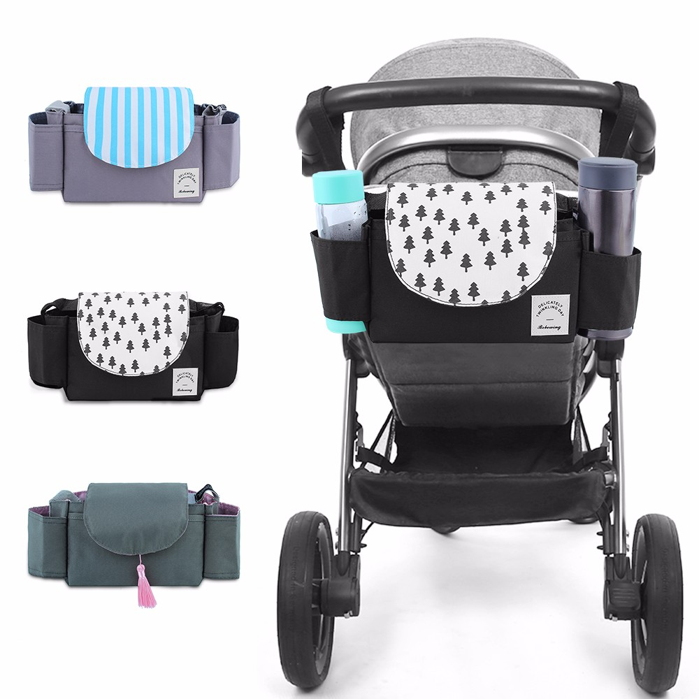 Baby Stroller Organizer Bag Portable Baby Carriage Hanging Bags Pram Cup Holder Multi-function Stroller Accessories Bag