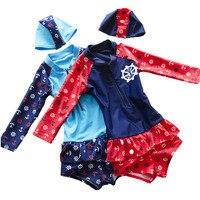 New Children Swimwear Kawaii Baby Girl Long Sleeve Two Piece Swimsuit Pink Necklace Printed Kids Bathing