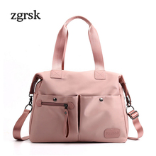 Women Ladies Shoulder Bag Brand Satchel None Oxford Zipper Solid Leather Hand Tote Black Fashion Bolsos Mujer