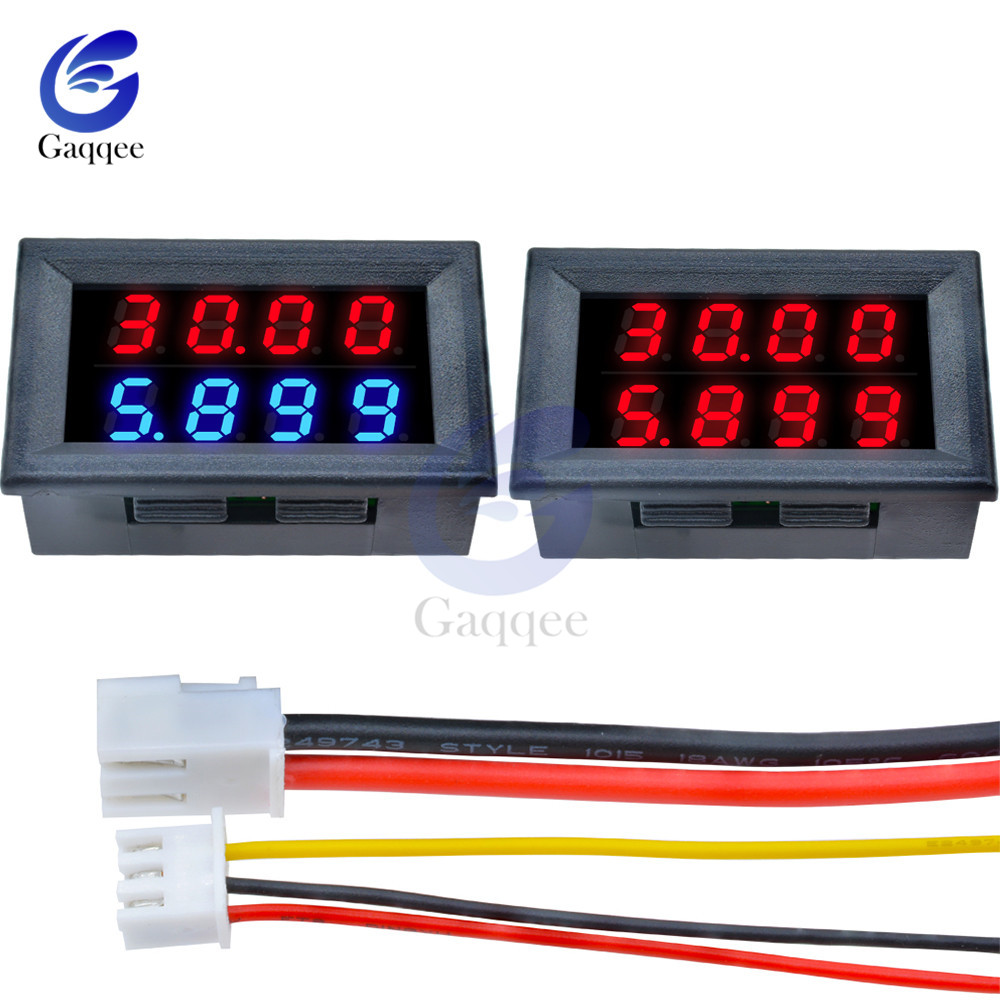DC Digital Voltmeter Ammeter 4 Bit 5 Wires DC 100V 200V 10A Voltage Current Amp Panel Meter Power Supply LED Dual Display