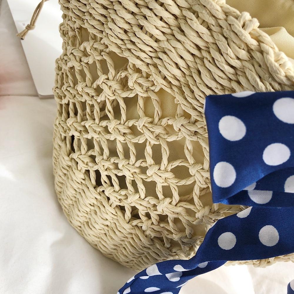 Handmade beach bag with openwork net woven straw bag bucket handbag summer ladies handbag high quality natural basket in Top Handle Bags from Luggage Bags