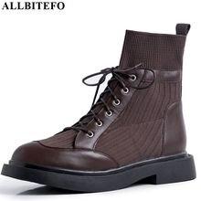 ALLBITEFO cuero genuino + tejer botas de tacón bajo botas cómodas a la altura de los tobillos para mujeres otoño niñas zapatos de mujer tacones