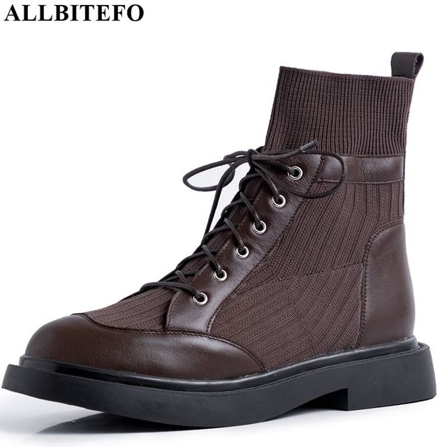 ALLBITEFO en cuir véritable + tricot à talons bas femmes bottes confortables bottines pour femmes automne filles chaussures femmes talons