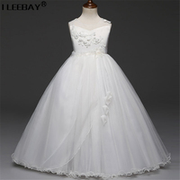 Elegant Wedding Dresses for Junior Girls Chilren Bridesmaid Vestido BigGirl Flower Evening Dress Girl Fashion Tulle Tutu Costume