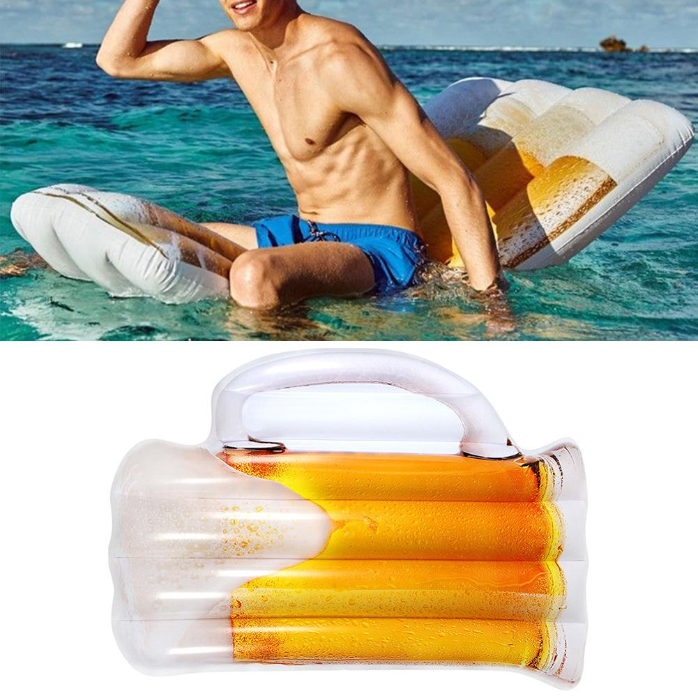 Nouveau gonflable flottant rangée bière en forme d'eau hamac piscine chaise longue flotteur tapis de piscine léger chaise flottante