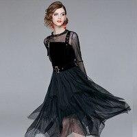 Для женщин Мода черный сексуальное платье Asymmertrical колена платье с длинным рукавом бинты Bodycon 2 шт. вечерние готический панк платье женский