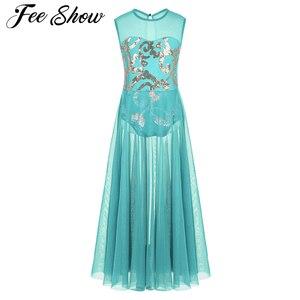 Image 1 - Dziewczęta elegancka sukienka maxi liryczne kostiumy do tańca nowoczesny taniec baletowy sukienka łyżwiarstwo gimnastyka trykot zużycie sceniczne