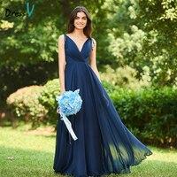 Dressv Blue Long Bridesmaid Dress V Neck Sleeveless A Line Backless Empire Chiffon Custom Wedding Party