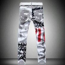 2016 Men Slim Jeans American Flag Printed Jeans Mens Graffiti Print Casual Denim Trousers Plus Size29