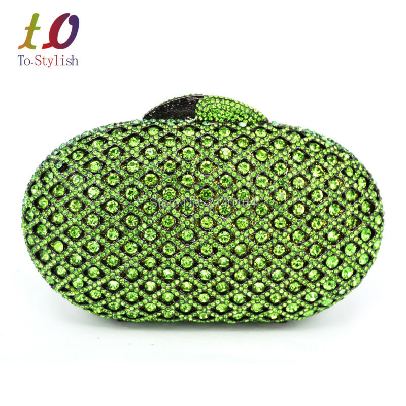 Stylish Small Green Crystal Evening Clutches Metal Oval Evening Bag for Lady Party Prom Soiree Purse Pochette Wedding bag 88224Stylish Small Green Crystal Evening Clutches Metal Oval Evening Bag for Lady Party Prom Soiree Purse Pochette Wedding bag 88224