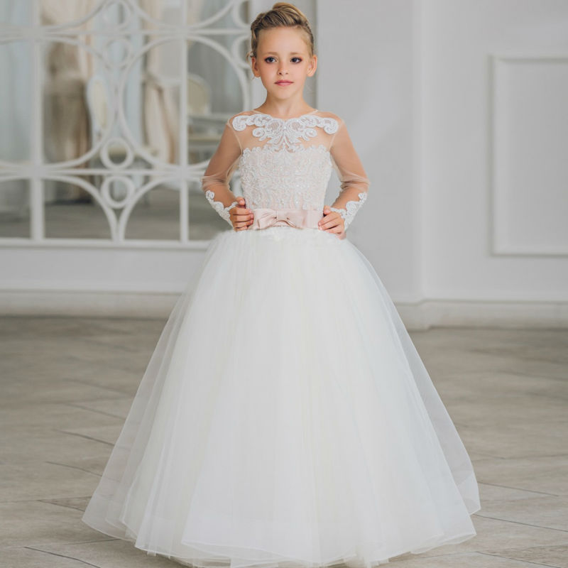 купить Long Sleeve Pageant Dresses for Girl Glitz Tulle Flower Girls  Dress for Weddings Ball Gpwn Floor Length Mother Daughter Dresses дешево