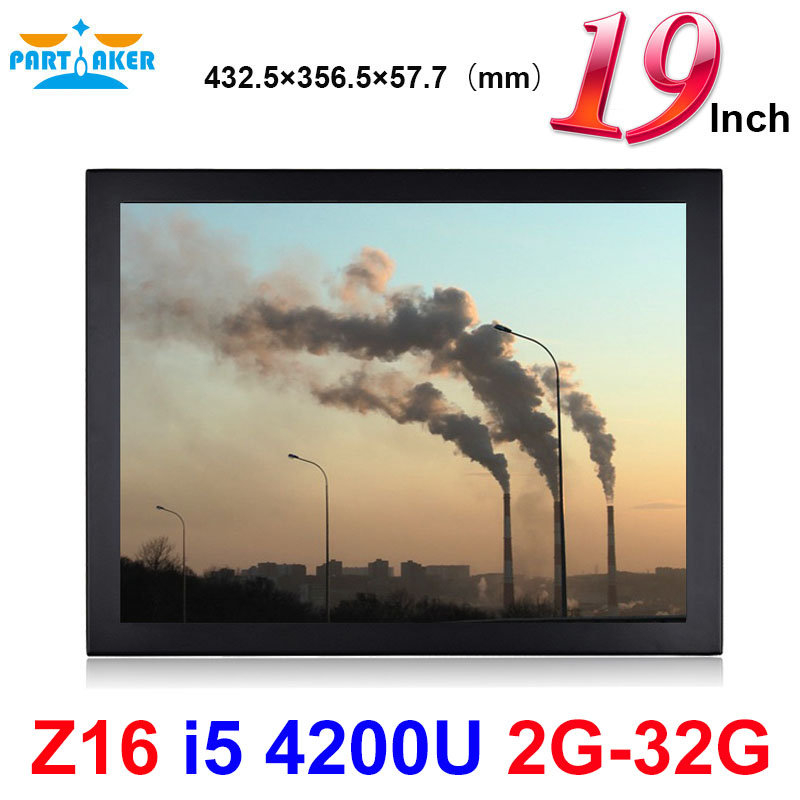 Partaker Elite Z16 Touch Panel PC 19 Inch LED Large Intel Core I5 4200U 2G RAM 32G SSD With 5 Wire Resistive Touch Screen