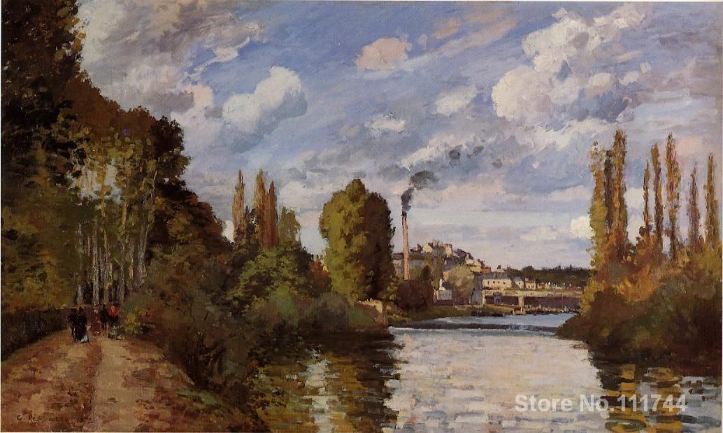 art landscape Riverbanks in Pontoise Camille Pissarro paintings on canvas High quality Hand paintedart landscape Riverbanks in Pontoise Camille Pissarro paintings on canvas High quality Hand painted