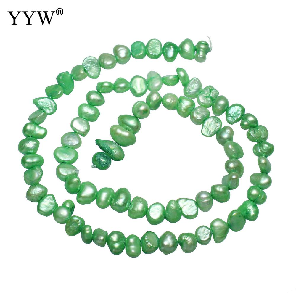Jewelry & Accessories Beads Cultured Baroque Freshwater Pearl Beads Nuggets Green 4-5mm Approx 0.8mm Sold Per Approx 15 Inch Strand For Diy Jewelry Making With A Long Standing Reputation