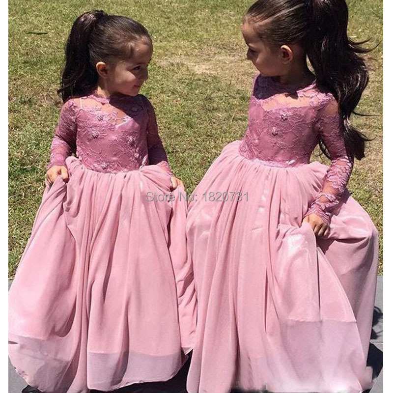 2016 New Style A-Line Chiffon High   Flower     Girls     Dresses   Full Cap Sleeve Wedding Party   Dress   Appliques Pleat For   Girls