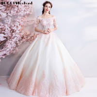 Luxury Wedding Dresses Off The Shoulder Banquet Sweet Pink Lace Embroidery Beading Dress A line Party Gown Robe De Soiree