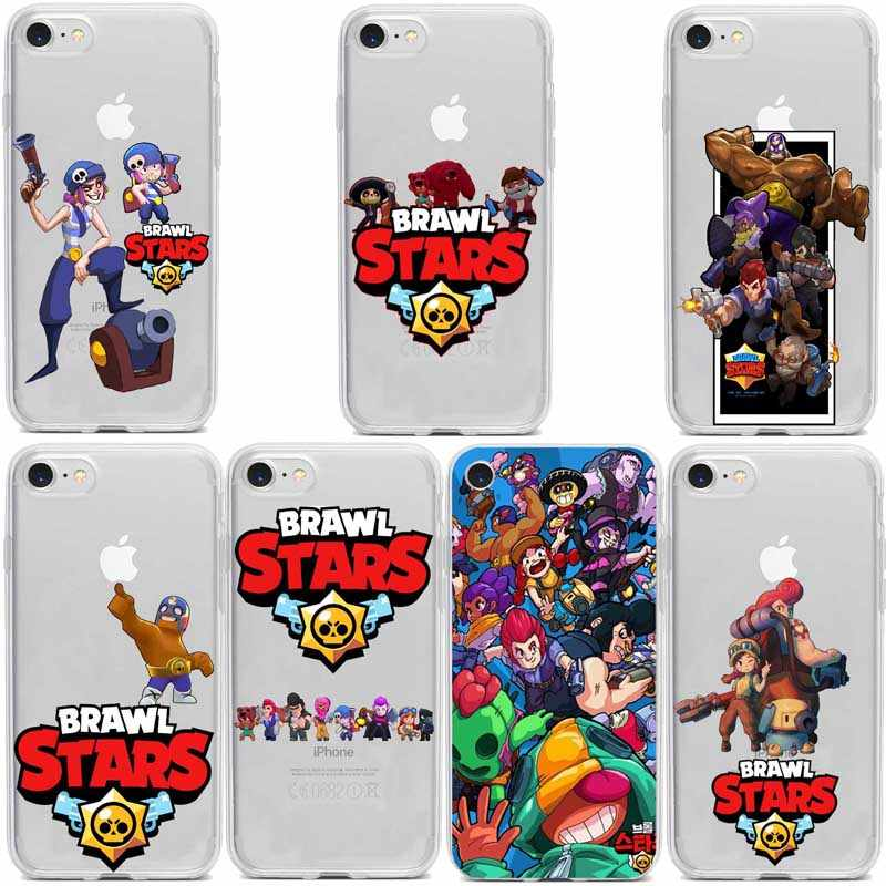 Brawl estrelas Capa de Silicone прозрачный Suave Macio para Iphone 5 6 7 8 Plus Mais X XS XR Xmax Brawl Stars Fundas Coque