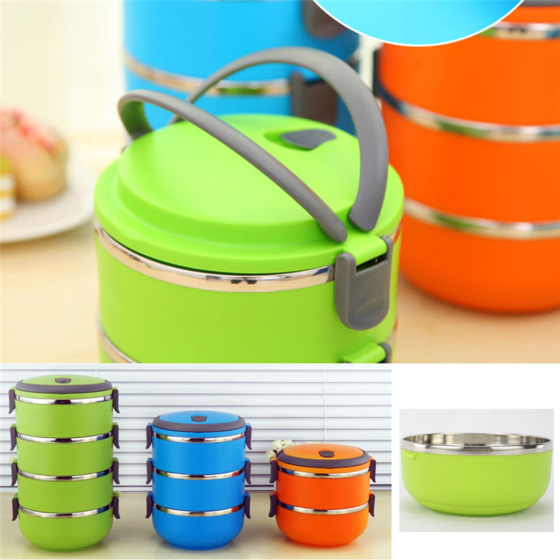 Stainless Steel Bento Lunch Box for Kids Thermal Food Container Portable Dinnerware Sets blue three layers 6