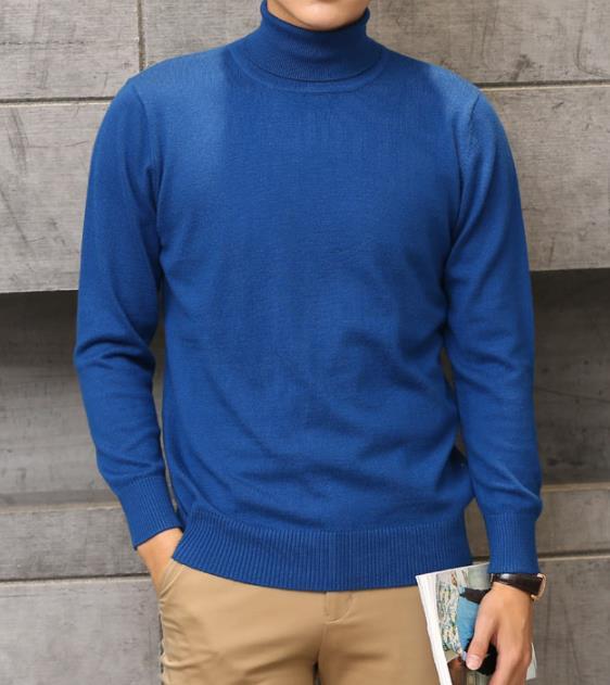 Кашемировая водолазка мужская, мужской свитер, одежда для осени и зимы, свитера цвета Омбре, пуловер для мужчин с высоким воротником - Цвет: Синий