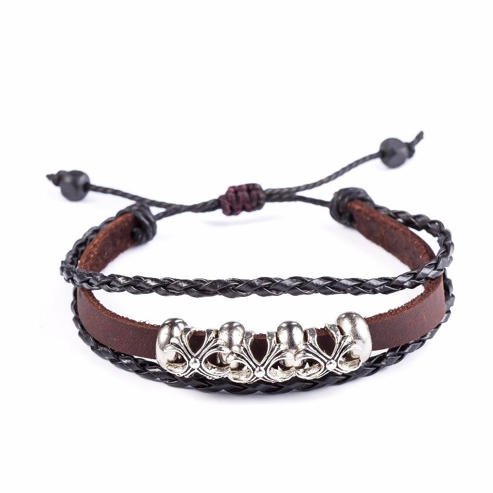 2017 Genuine Leather Bracelet Women,snaps Jewelry Adjustable Love Bracelets  & Bangles,flower Laceup Cuff Bracelet For Women
