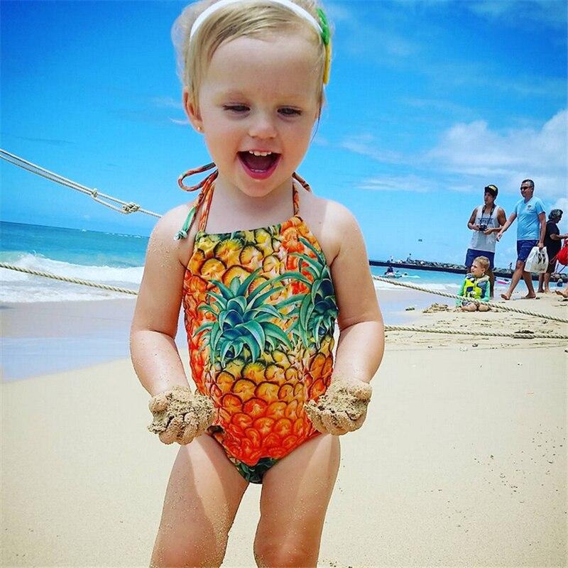 Kinder Einteiler Itfabs Sommer 1-6 T Kinder Kinder Baby Mädchen Bikini Einteiliges Ananas Druck Bademode Säugling Mädchen Bademode Badeanzug Schwimmen Gesundheit Effektiv StäRken