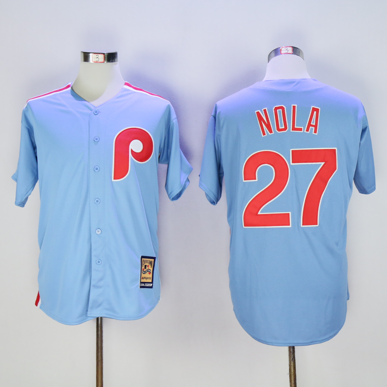 MLB Mens Philadelphia Phillies Light Blue Aaron Nola Cool Base Team Jersey