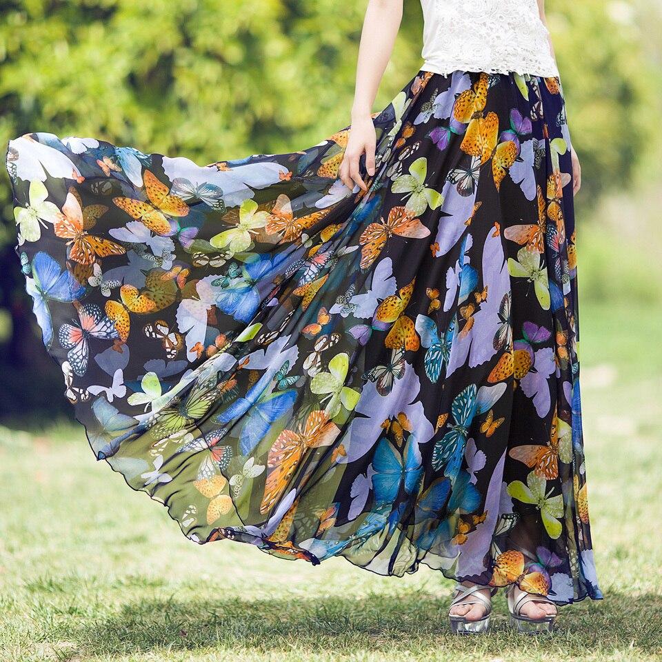 2018 nouvelle taille haute bohême plage jupe femmes imprimé papillon coloré longue une ligne jupe d'été en mousseline de soie maxi jupe grande taille