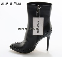 Black Leather Rivets Stiletto Ankle Boots Pointed Toe Sexy Woman High Heels Short Boots Top Quality
