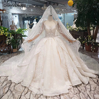 Long sleeve Wedding Dress with wedding veil tulle o neck handmade bridal dress wedding gown with train vestido de noiva HTL294