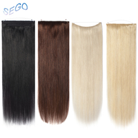 SEGO Straight Pure Color Wire Human Hair Extensions Invisible Wire Flip in Hair Extensions Non Remy Hair With Double Weft width