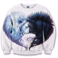 autumn Fashion Men Women 3D Pullover Hoodie Black and white lion Printed Long Sleeve Sweatshirt CrewNeck Casual outerwear