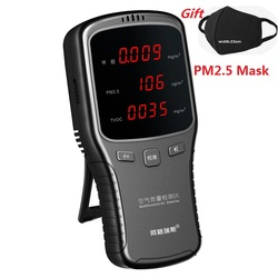 Cyfrowy Pm2.5 Tester Formaldeyde detektor HCHO TVOC PM1.0 PM2.5 PM10 detektor z maską analizator gazu gospodarstwa domowego PM 1.0 2.5 10 w Analizatory gazu od Narzędzia na