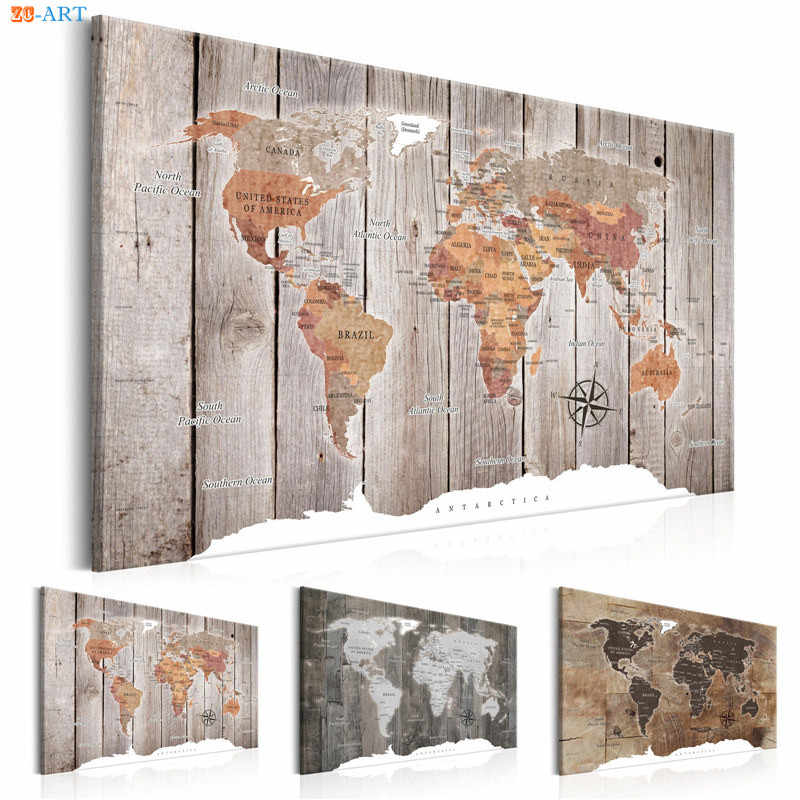 Vintage Posters and Prints World Map Canvas Painting Wall Art Wall Pictures for Living Room Nordic Decoration Home