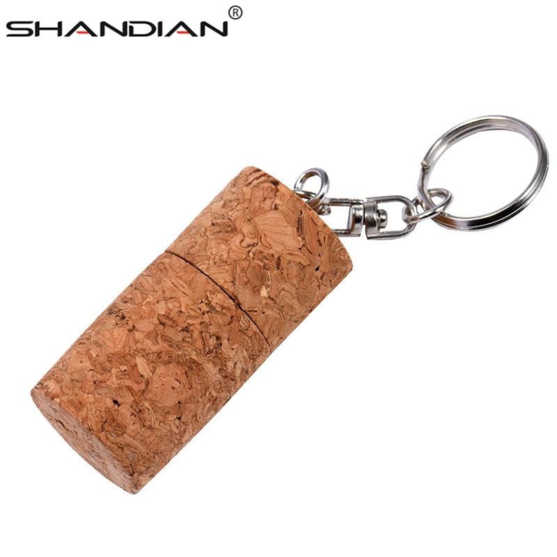 SHANDIAN Wooden Cork USB Flash Drive Wood Bottle Plug Pendrive 4GB 16GB 32GB 64gb Fashion Memory Stick  With Keychain Gifts