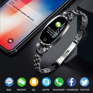 Image 3 - H8 Dames Horloge Slimme Armband Hartslag Bloeddrukmeter Fitness Tracker Stappenteller Waterdicht Stappenteller IOS Android Smartwatch