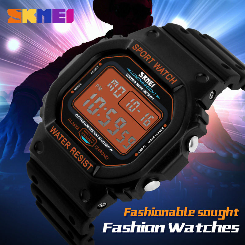 SKMEI G Style Digital Wristwatches Men Rectangle Dial Led Sports Watches 50M Waterproof Shock Fashion Casual Watch Brand Watches skmei brand fashion digital quartz watch men shock resistant waterproof sports military watches men s casual led wristwatches